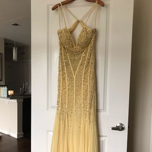Yellow and Gold Crystal Gown